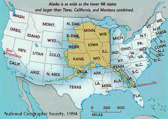 Alaska superimposed over the USA